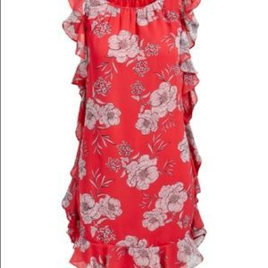 ⭐️ 3 for $25 Coral Floral Ruffle Shift Dress
